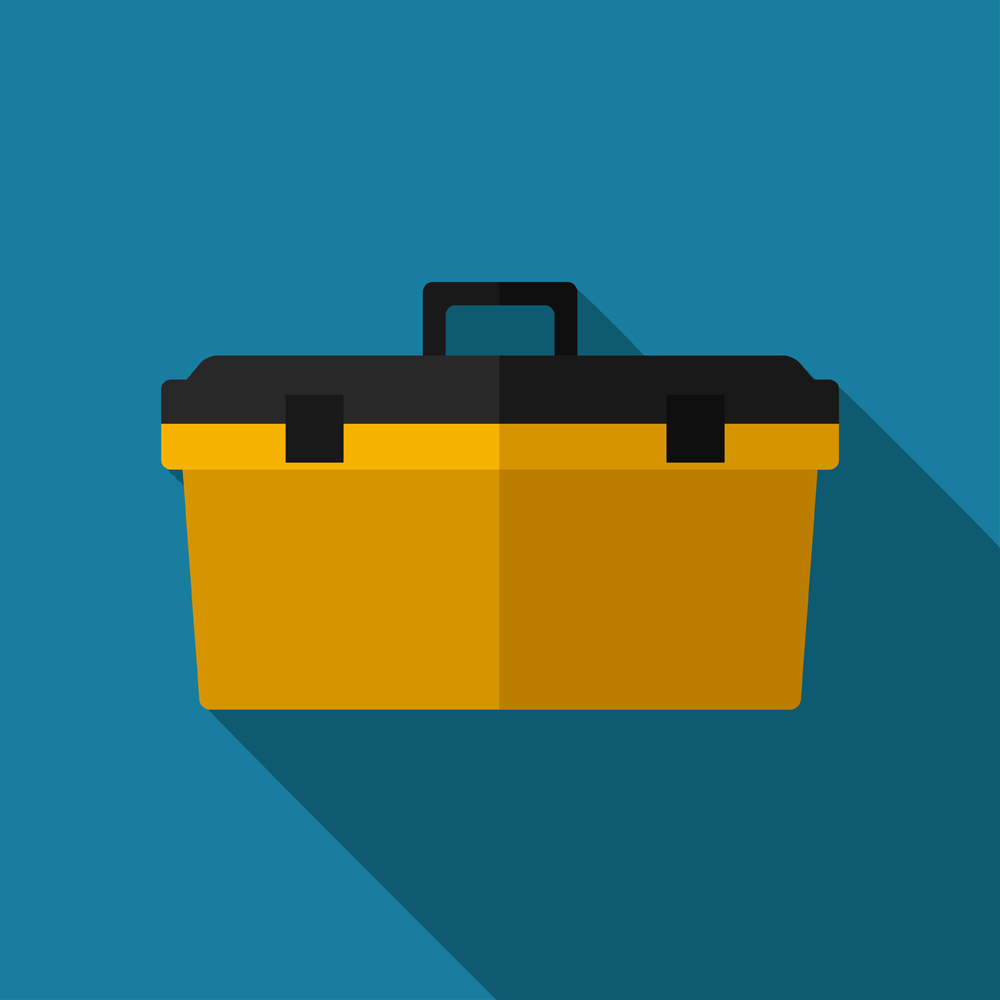 Graphic concept of a toolbox.